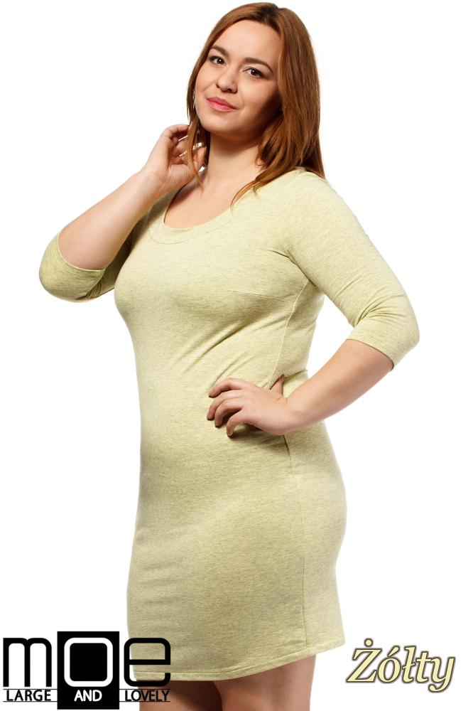 CM1655 Dopasowana sukienka z rękawem 3/4 - żółta
