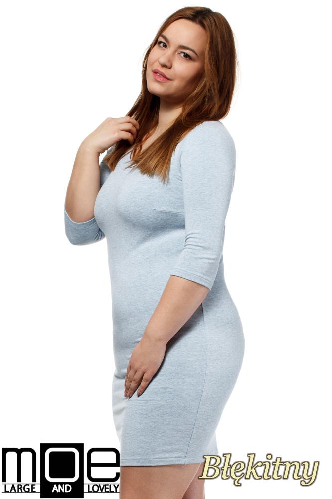 CM1655 Dopasowana sukienka z rękawem 3/4 - błękitna