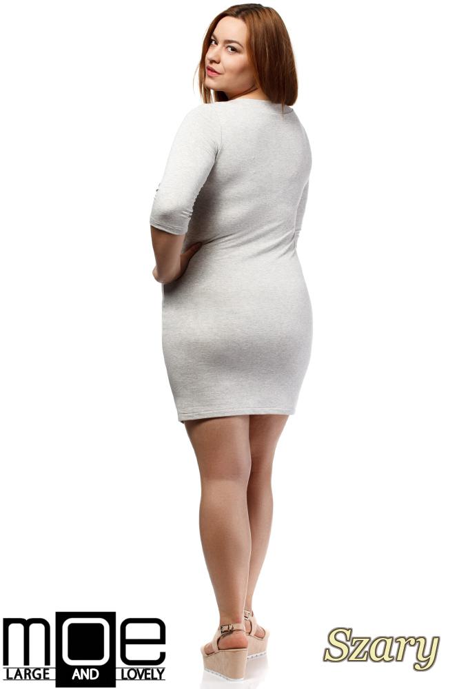 CM1655 Dopasowana sukienka z rękawem 3/4 - szara