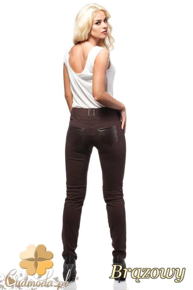 CM0192 Włoskie legginsy spodnie ze skórzanymi wstawkami - brązowe