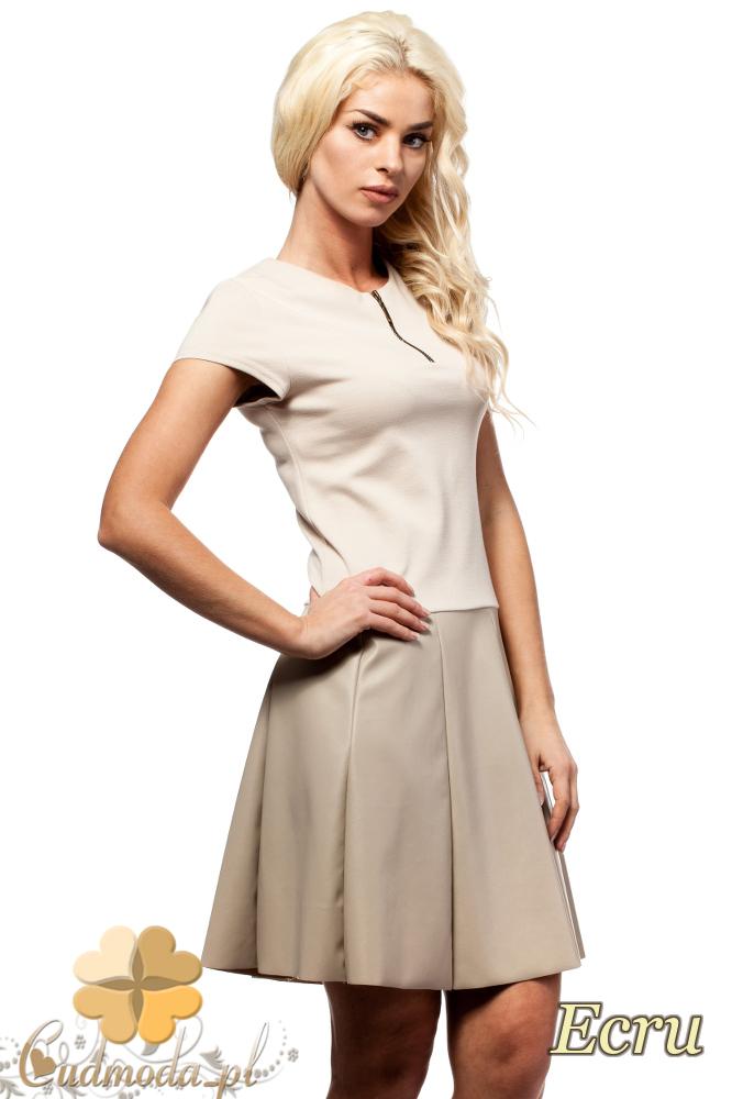 CM1581 Odcinana sukienka skórzana - ecru