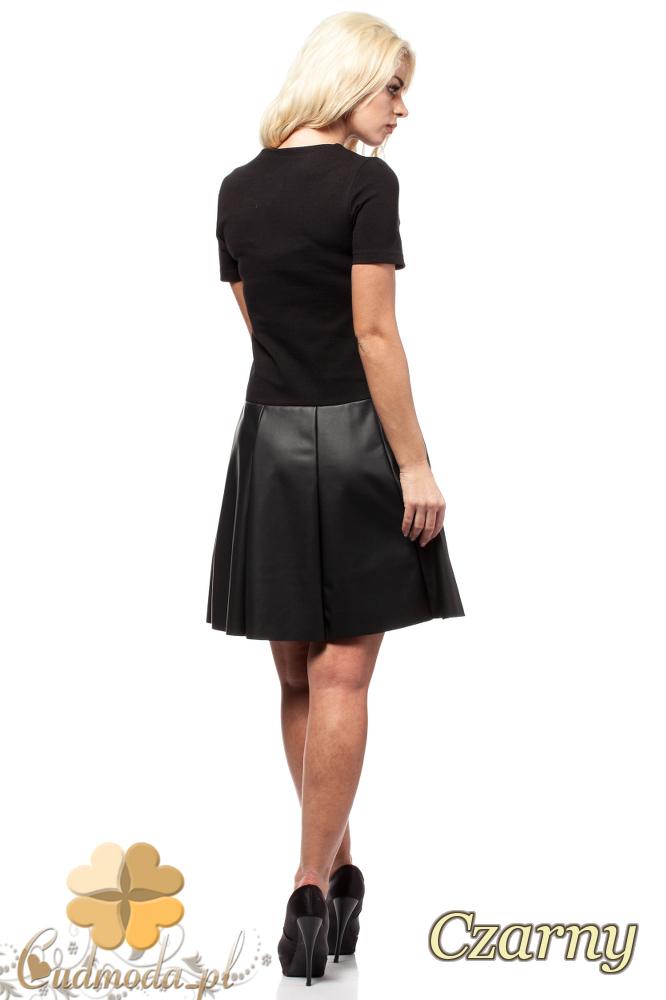 CM1581 Odcinana sukienka skórzana - czarna