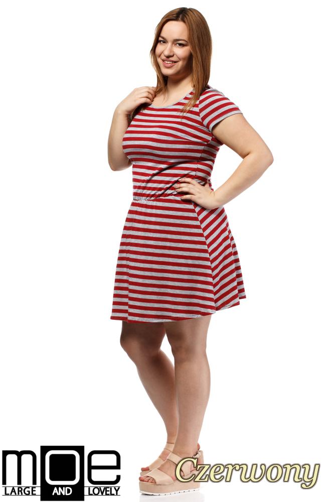 CM1656 Drapowana sukienka z gumką w pasie - czerwona
