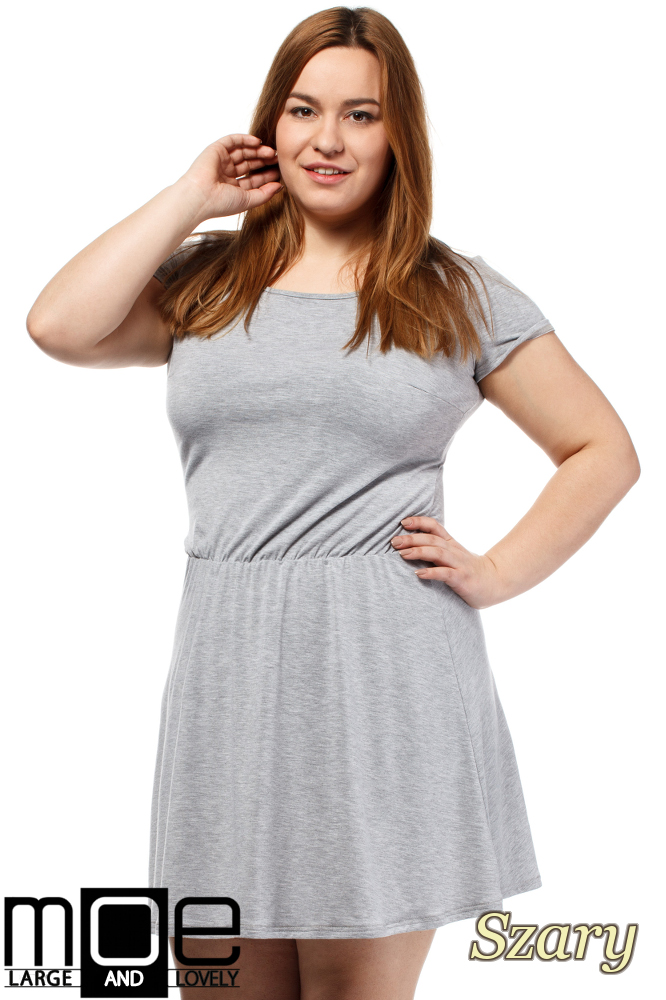 da7913258d CM1656 Drapowana sukienka z gumką w pasie - szara ...