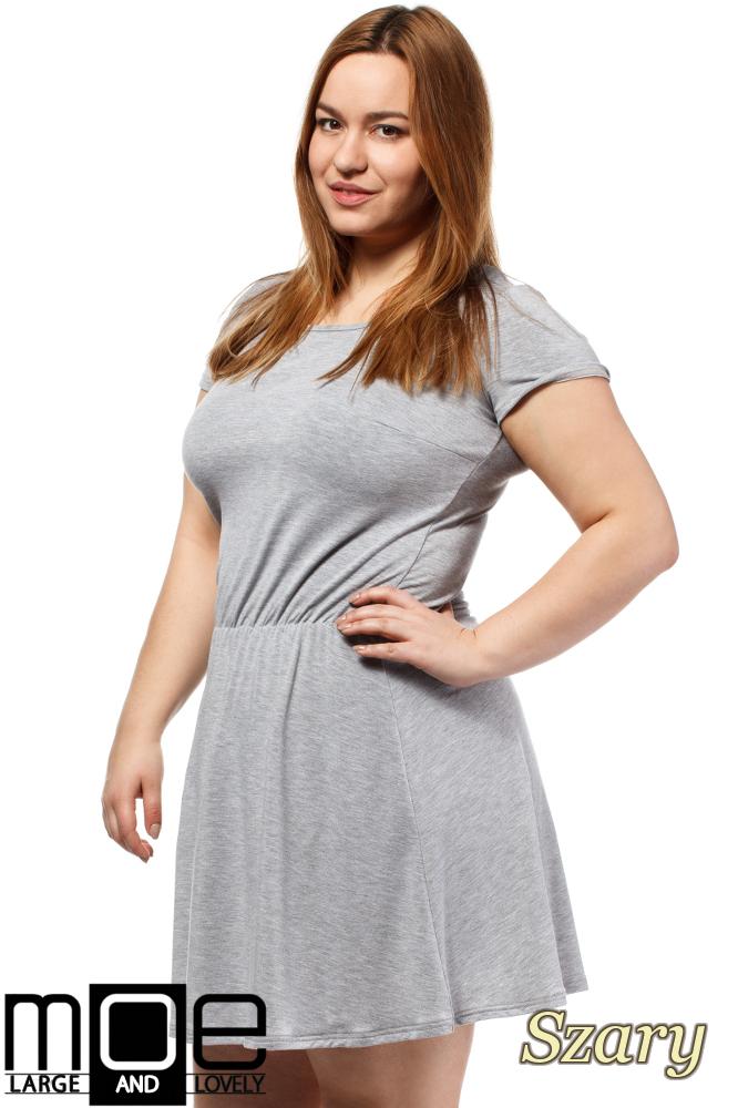 8344ad208f ... CM1656 Drapowana sukienka z gumką w pasie - szara ...