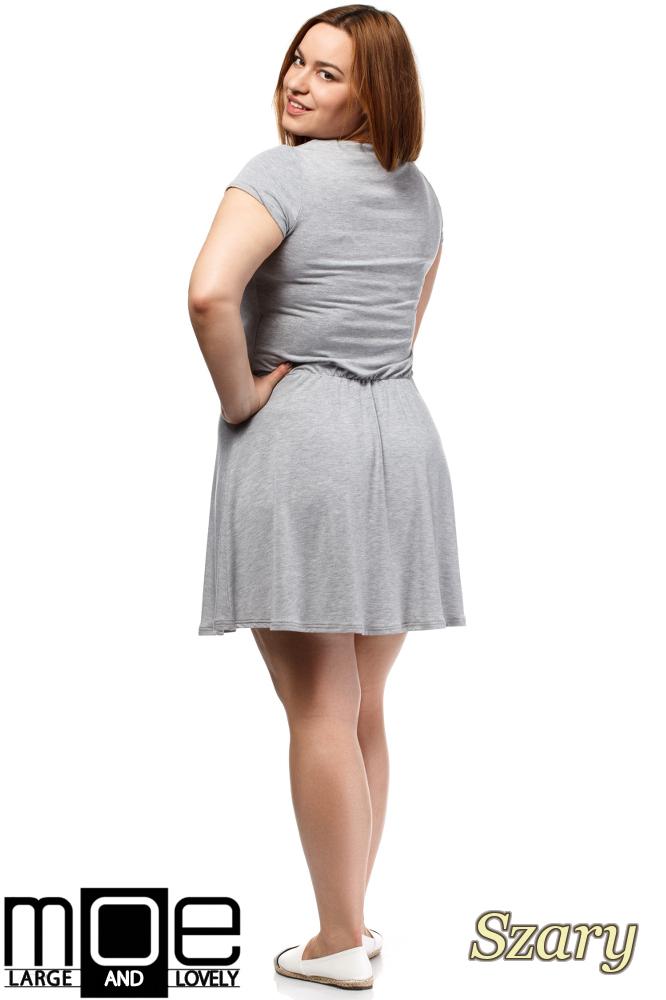 CM1656 Drapowana sukienka z gumką w pasie - szara