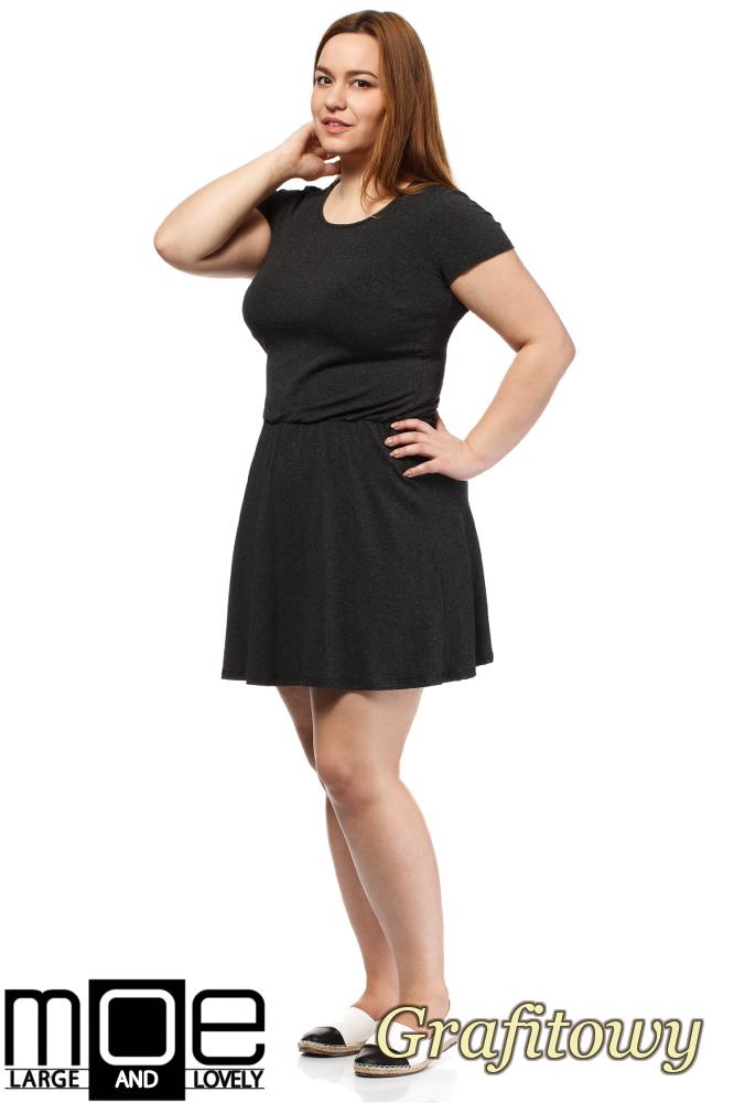 CM1656 Drapowana sukienka z gumką w pasie - grafitowa
