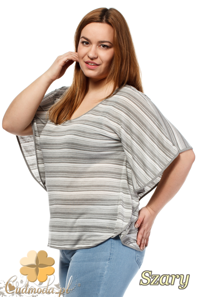 CM1659 Zwiewna luźna bluzka kobieca - szara