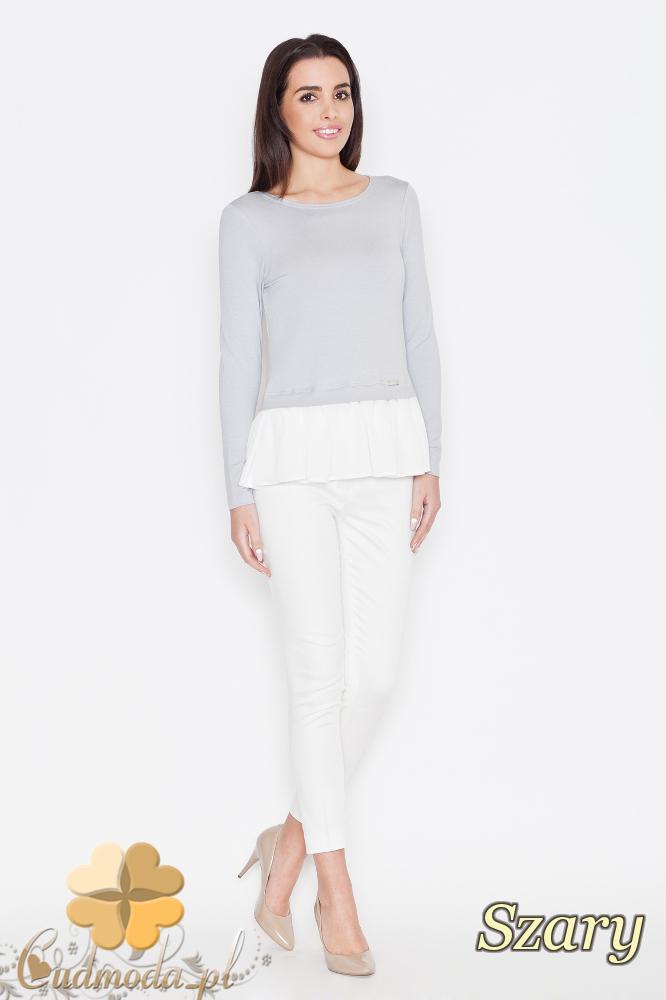 CM1664 Elegancka bluzka damska z falbanką - szara