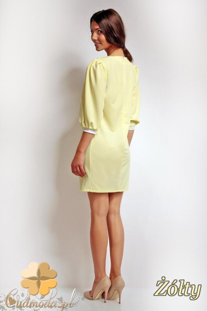 WYCOFANY Mini sukienka z kokardą i rękawem 3/4 - żółta