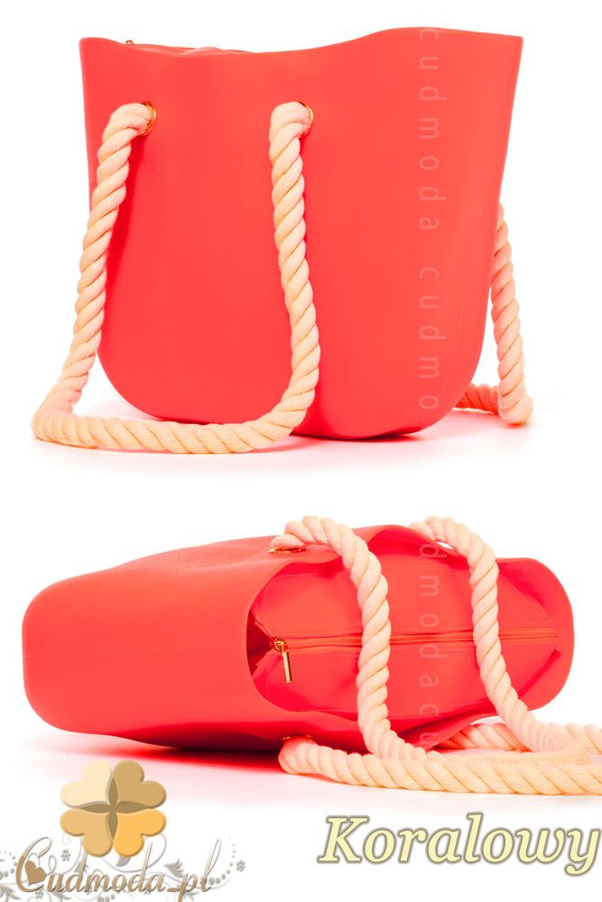 CM1607 Gumowa torebka JELLY BAG - koralowa
