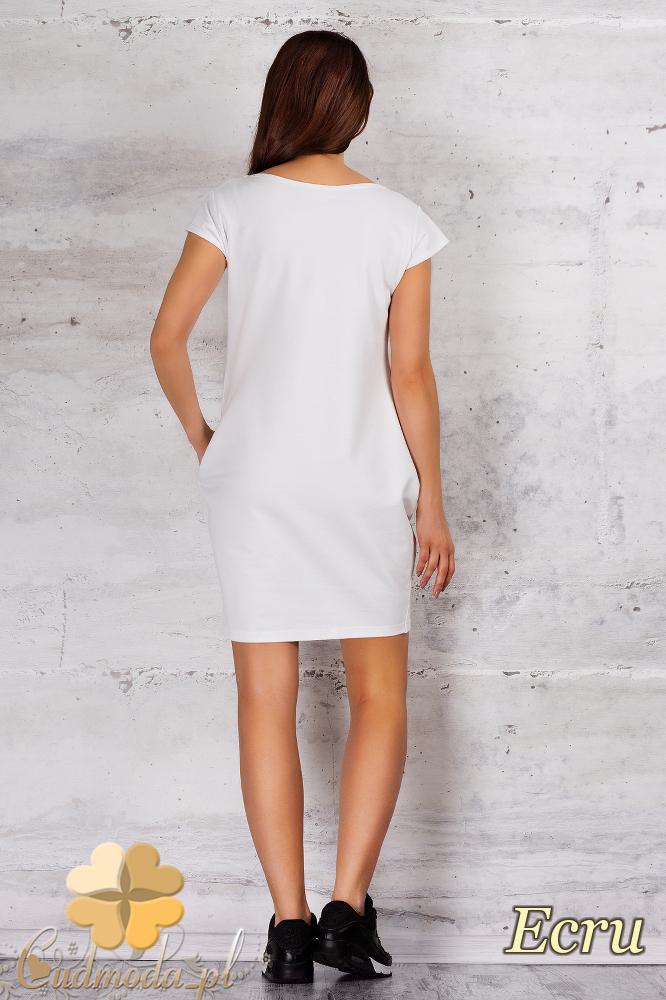 CM1682 Sportowa sukienka z kieszonką - ecru