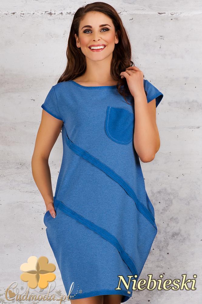 CM1682 Sportowa sukienka z kieszonką - niebieska