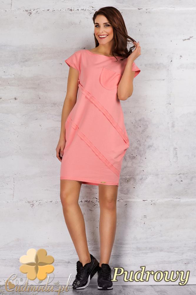 CM1682 Sportowa sukienka z kieszonką - pudrowa
