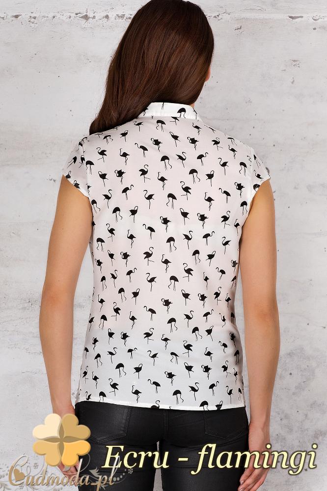 CM1685 Koszula na stójce we wzór - ecru - flamingi