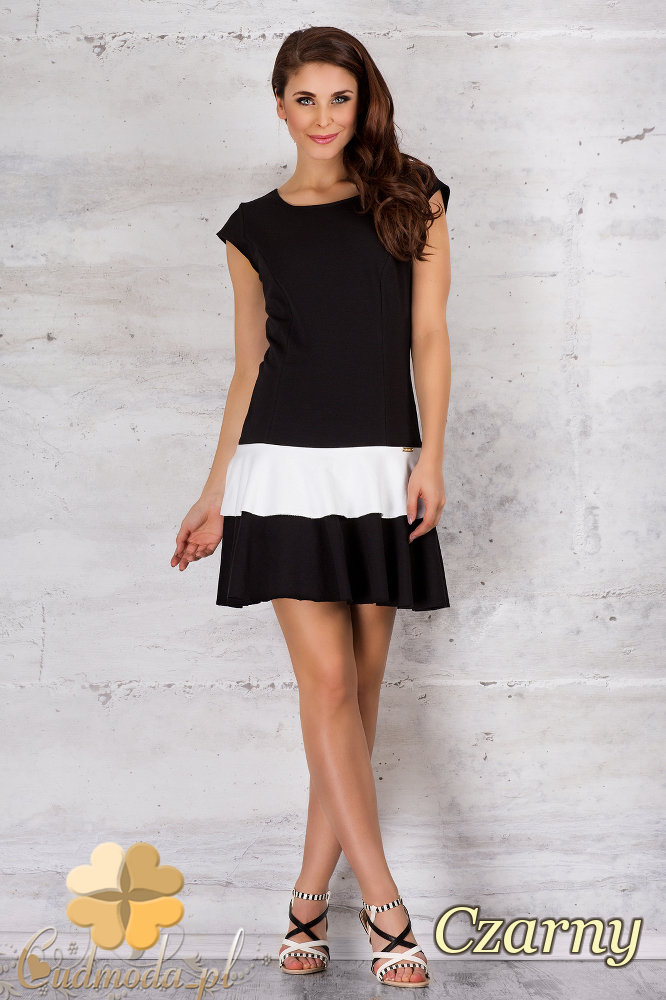 CM1686 Dwukolorowa sukienka mini bez rękawów - czarna