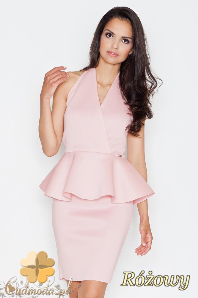 CM1687 Damska sukienka baskinka z zakładką - różowa
