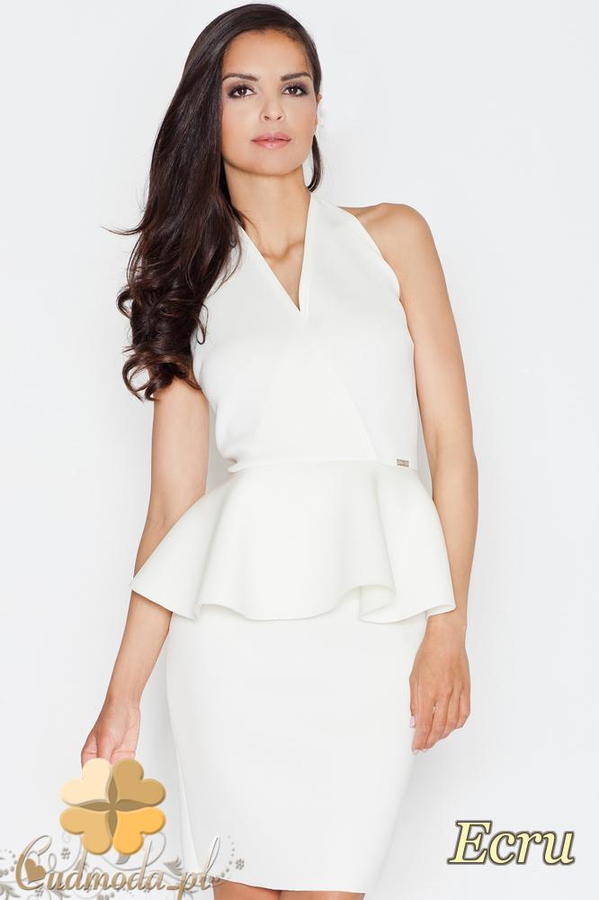 CM1687 Damska sukienka baskinka z zakładką - ecru