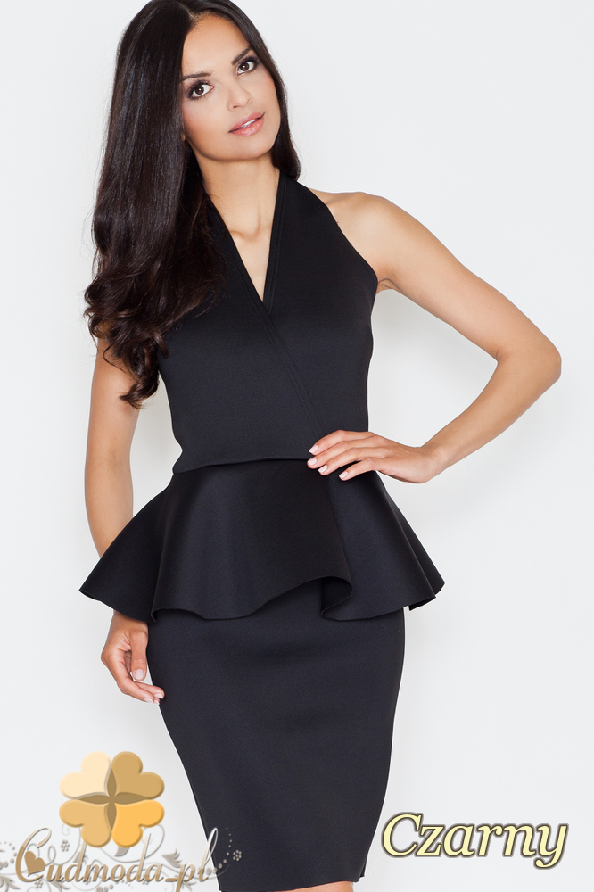 CM1687 Damska sukienka baskinka z zakładką - czarna