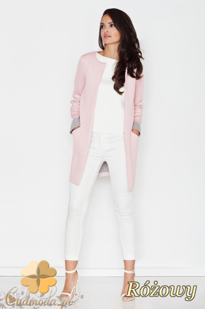 CM1688 Niezapinany pastelowy żakiet - różowy