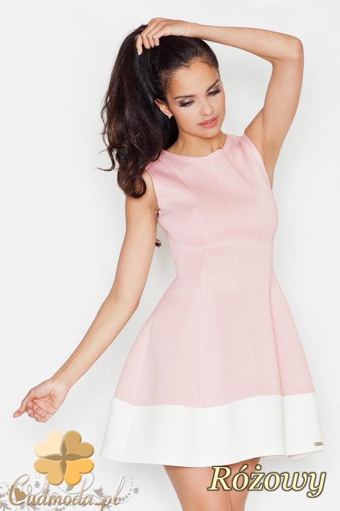 CM1689 Rozkloszowana sukienka z pasem w kontrastowym kolorze - różowa