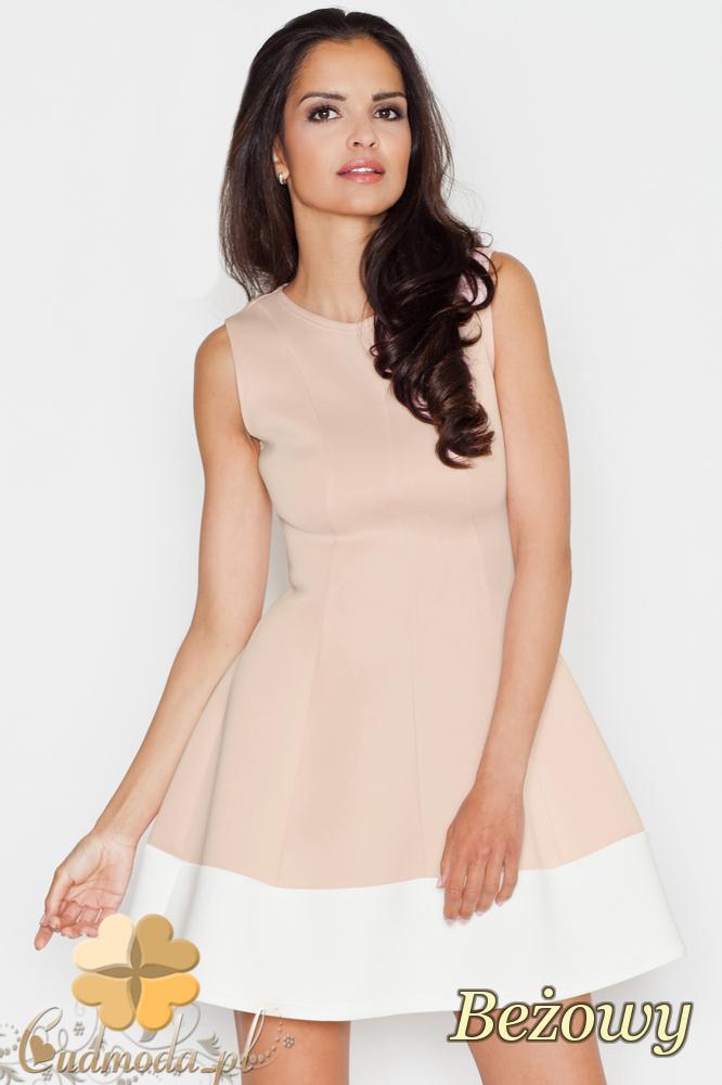 CM1689 Rozkloszowana sukienka z pasem w kontrastowym kolorze - beżowa