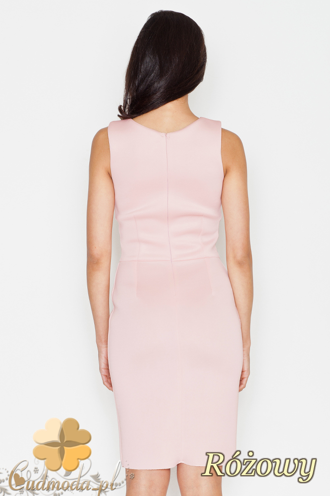 CM1701 Ołówkowa sukienka wieczorowa - różowa