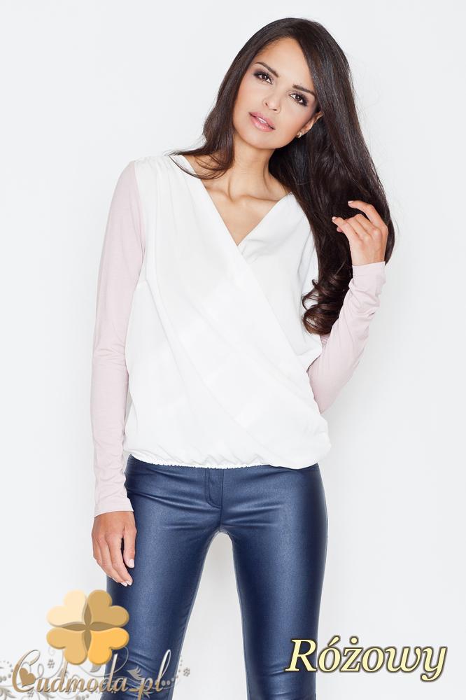 CM1703 Dwukolorowa kopertowa bluzka z zakładką - różowa