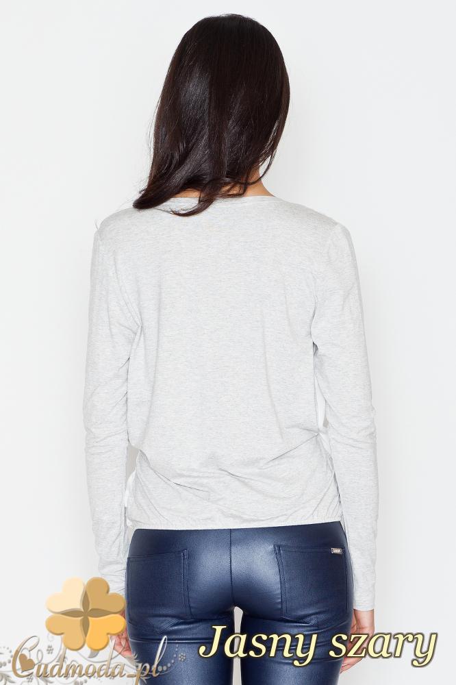CM1703 Dwukolorowa kopertowa bluzka z zakładką - jasna szara
