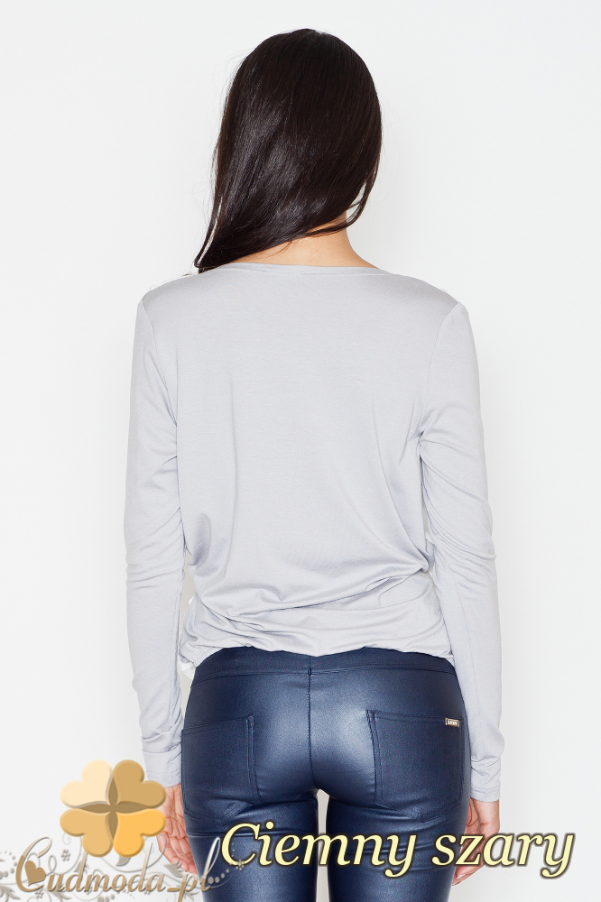 CM1703 Dwukolorowa kopertowa bluzka z zakładką - ciemna szara