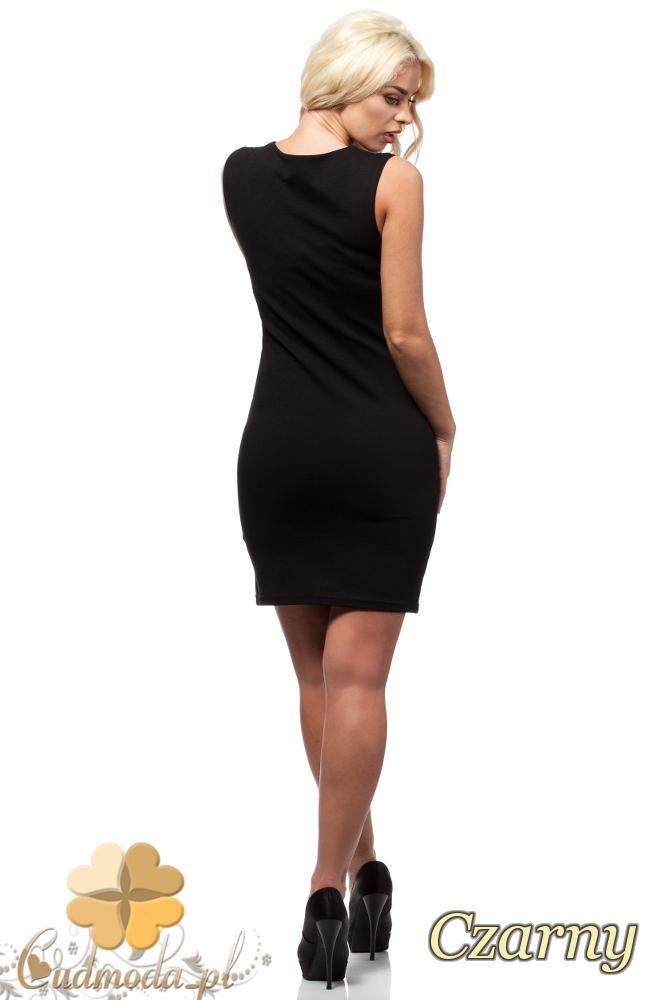 CM1693 Sukienka na ramiączkach ze skórzanymi wstawkami - czarna