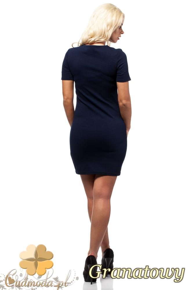CM1691 Skórzana sukienka mini z krótkim rękawem - granatowa