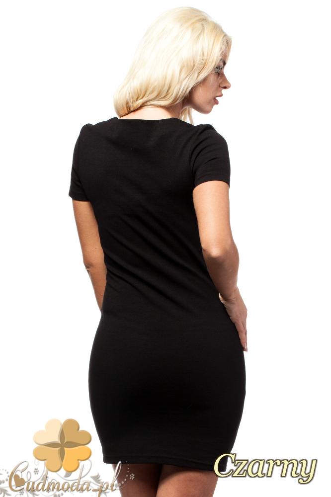 CM1691 Skórzana sukienka mini z krótkim rękawem - czarna