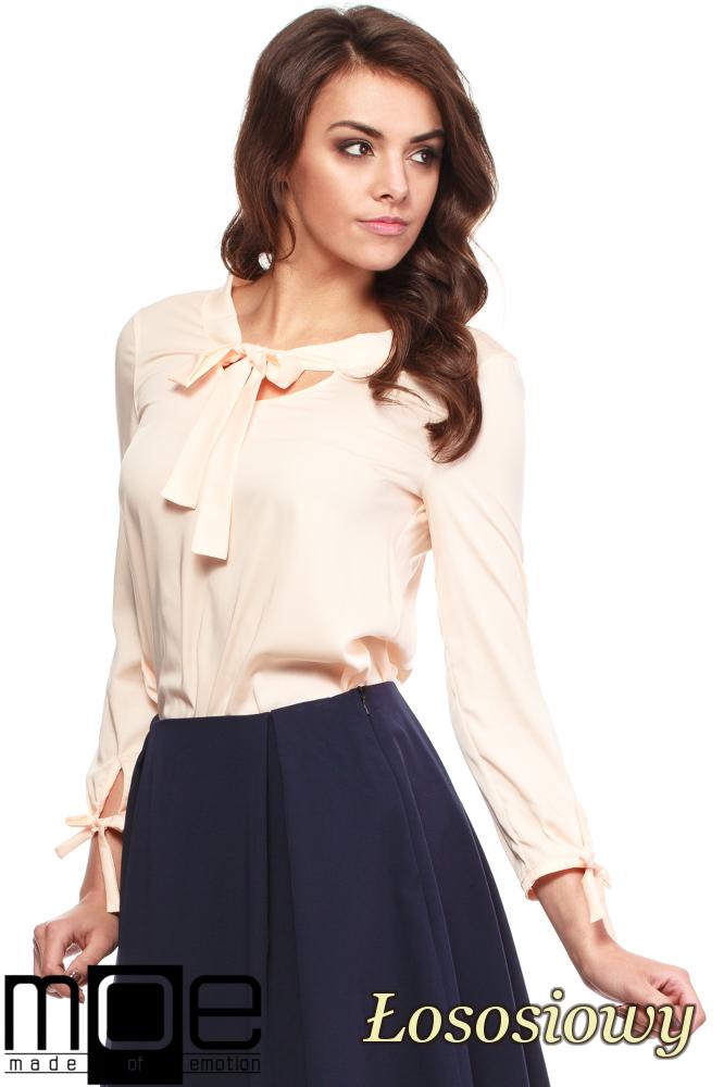 CM1237 Elegancka, kobieca bluzka koszulowa - łososiowa