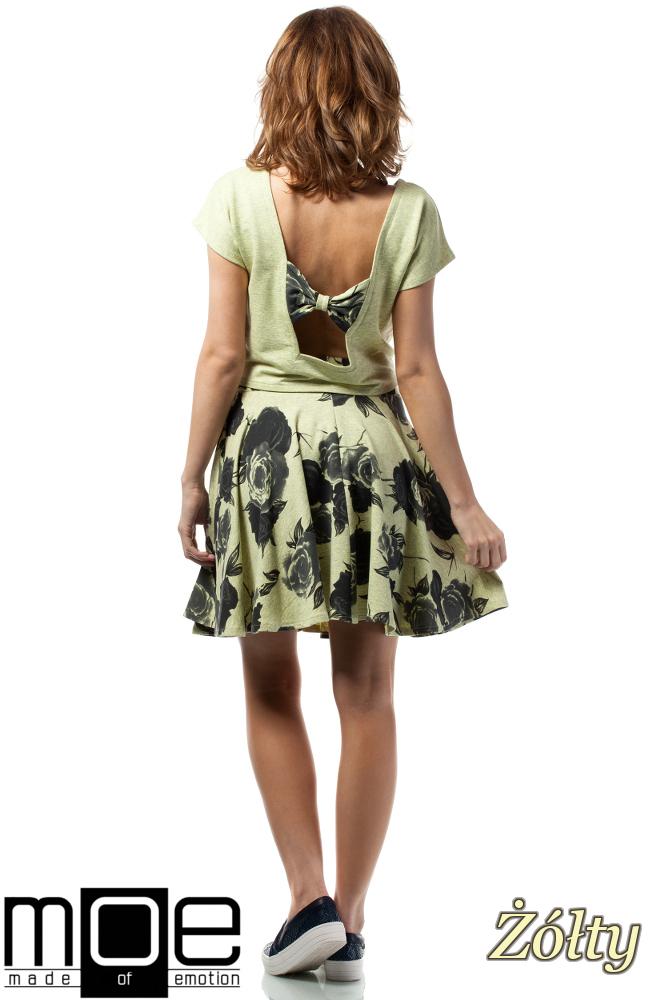 CM1716 Bluzka damska - bolerko z krótkim rękawem - żółta