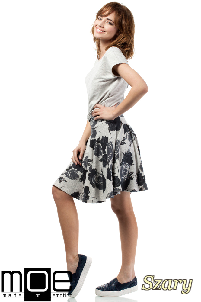 CM1716 Bluzka damska - bolerko z krótkim rękawem - szara