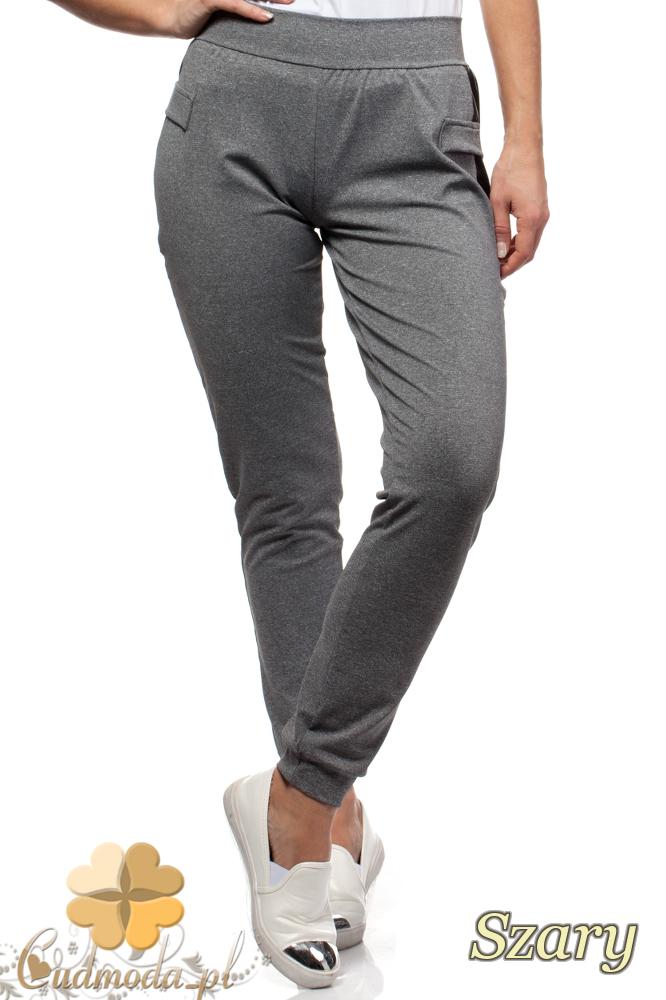 CM1698 Sportowe spodnie ze skórzanymi wstawkami - szare