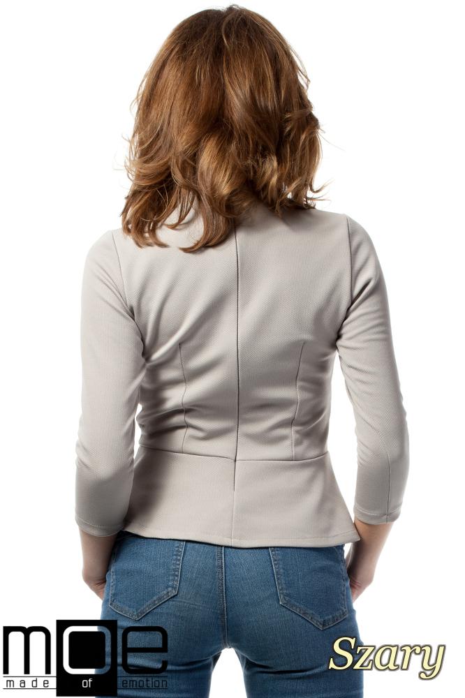 CM1719 Damska bluzka baskinka z rękawem 3/4 - szara