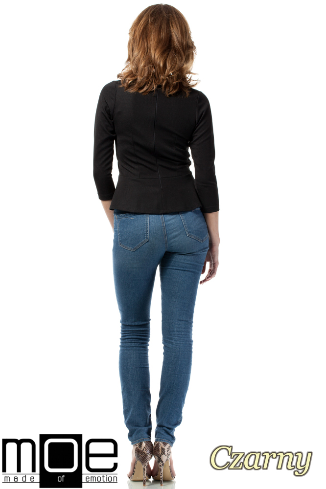 CM1719 Damska bluzka baskinka z rękawem 3/4 - czarna