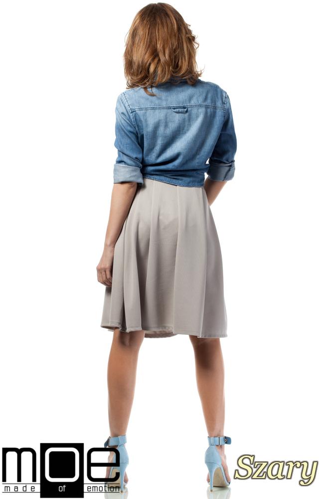 CM1720 Rozkloszowana spódniczka damska do kolan - szara
