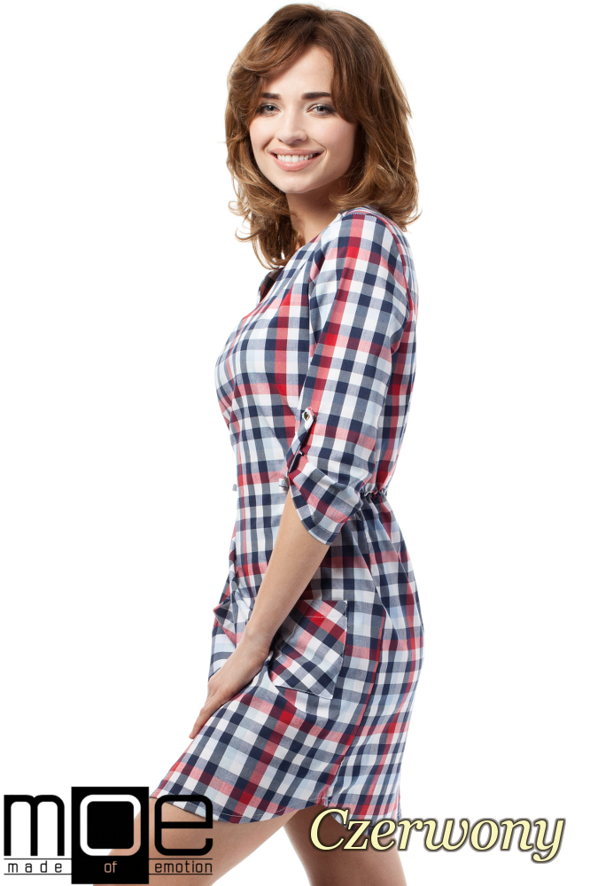 CM1722 Sukienka mini w kratkę zapinana na napy - czerwona