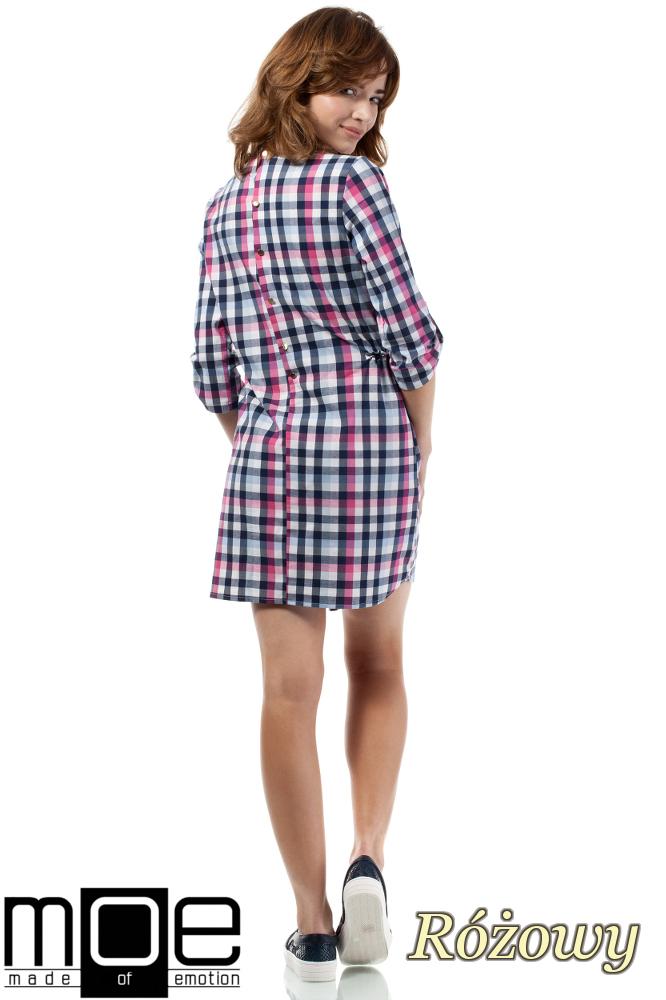 CM1722 Sukienka mini w kratkę zapinana na napy - różowa