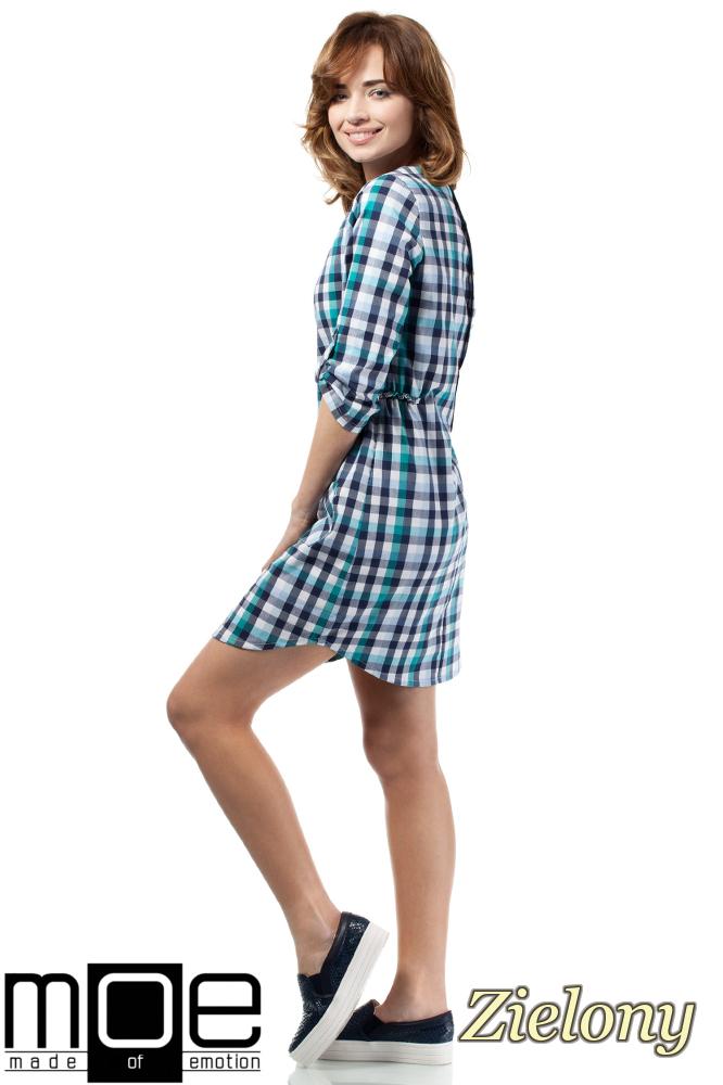 CM1722 Sukienka mini w kratkę zapinana na napy - zielona