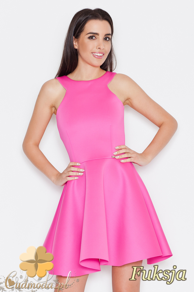 CM1704 Odcinana sukienka na ramiączkach - fuksja