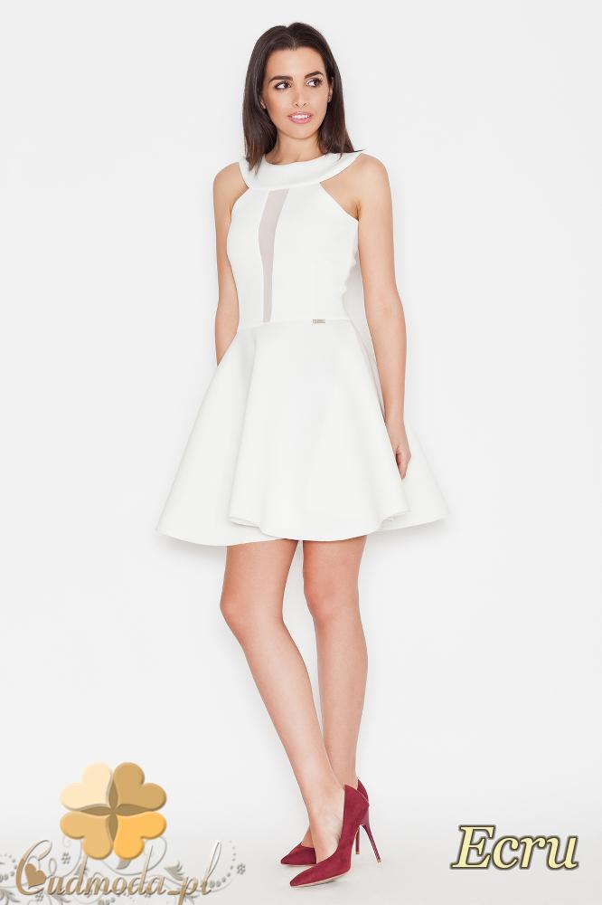 CM1705 Rozkloszowana sukienka z przezroczystą wstawką - ecru