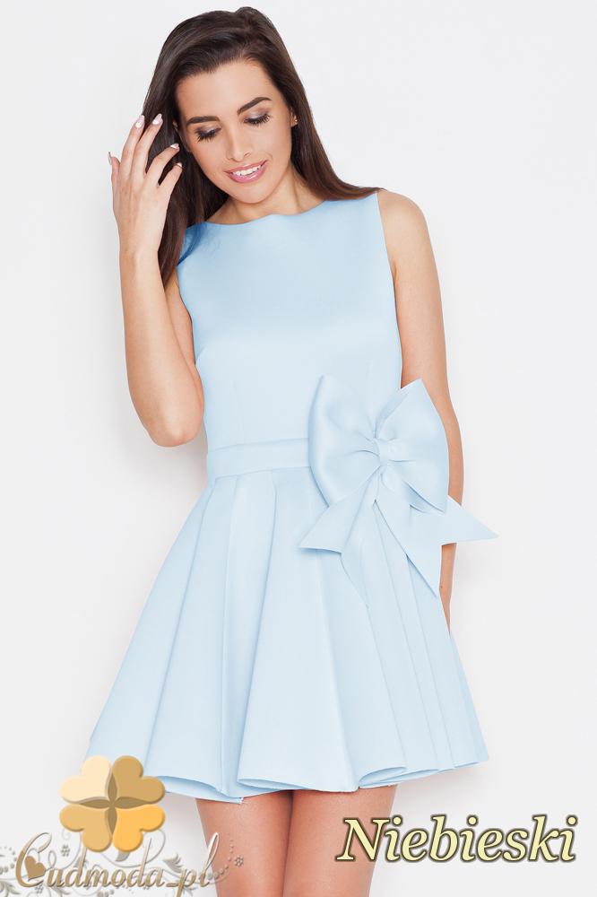 CM1706 Sukienka na ramiączkach z kokardą - niebieska
