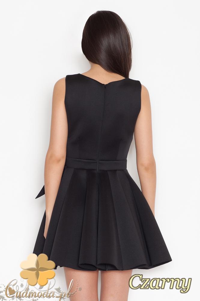CM1706 Sukienka na ramiączkach z kokardą - czarna