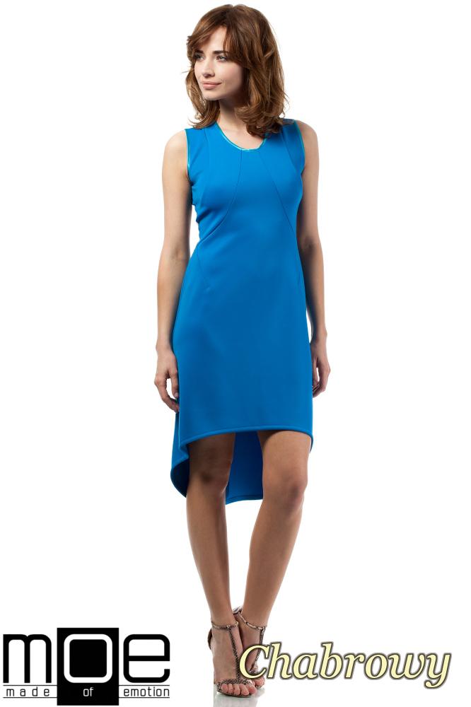 CM1715 Nowoczesna sukienka z tiulowym wzorem na plecach - chabrowa