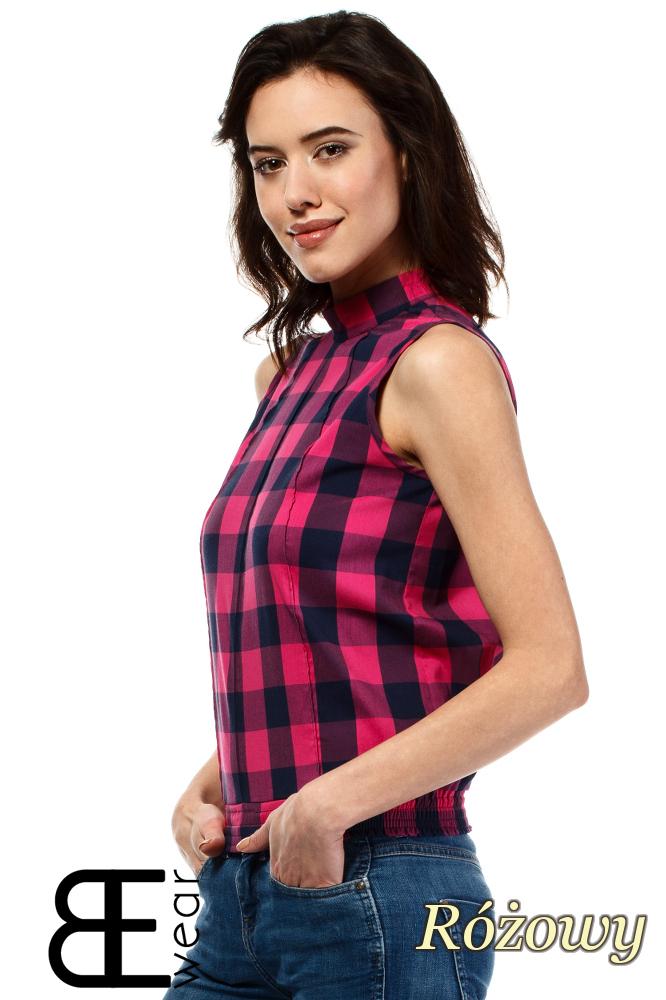 CM1637 Damska bluzka w kratkę bez rękawów - różowa