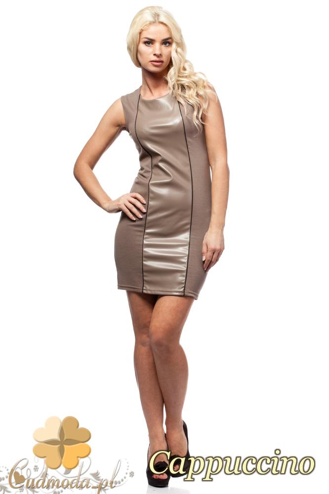 CM1690 Skórzana sukienka mini bez rękawów - cappuccino